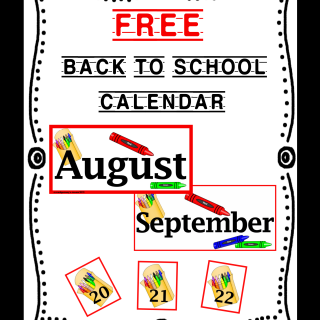 FREE Back to School Calendar Printable