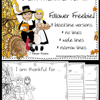 I Am Thankful For Writing Activity Follower Freebie