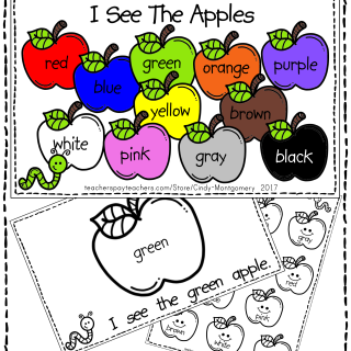 FREE I See Apples reader and color words page