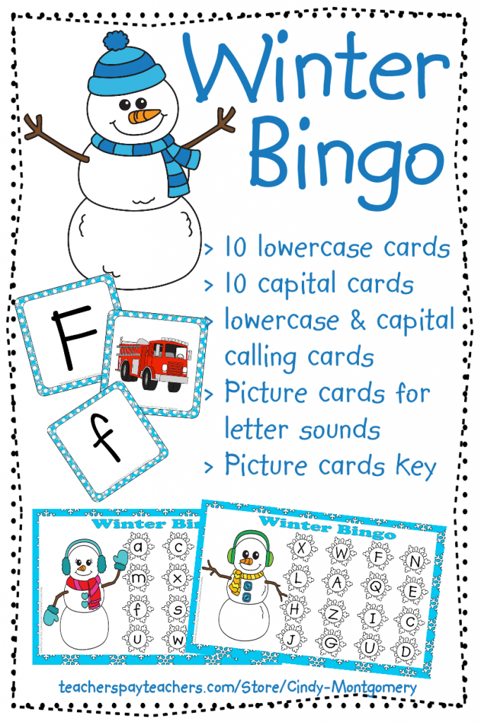 Winter Letters and Sounds Bingo