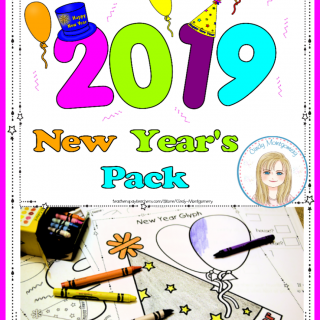 2019 New Year's Pack: glyph, writing activities, crown, coloring page, pictograph, bar graph and follow up questions