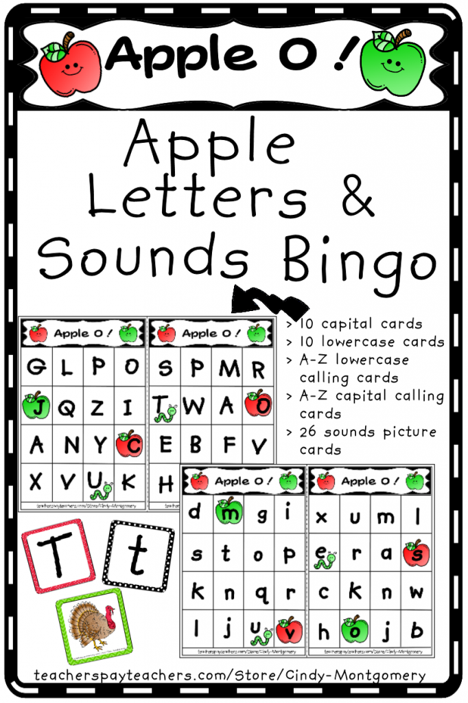 Apple O! : Apple Letters and Sounds Bingo Game